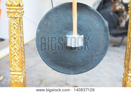 ancient Thai's gong with head stick, Thailand