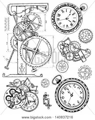 Graphic set with vintage clock mechanism in steampunk style. Hand drawn illustration, sketch tattoo, old black and white technology collection with cogs, gear, wheels and retro machines