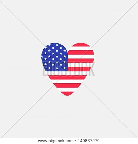 Heart shape american flag Star and strip icon. Flat design. Vector illustration