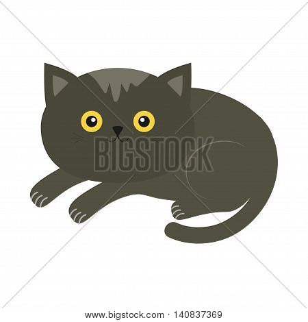 Cute lying gray cartoon cat with moustache whisker and yellow eyes. Funny character. White background. Isolated. Flat design. Vector illustration