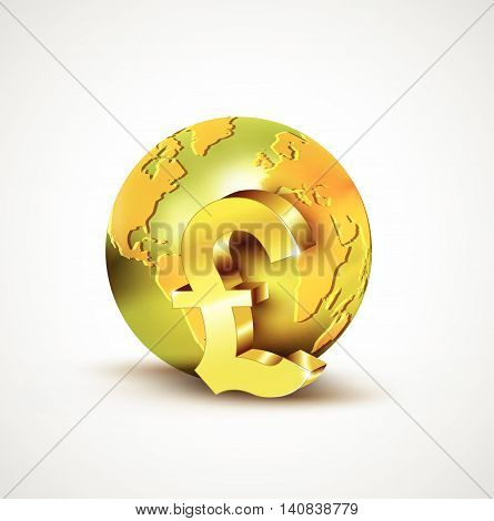 World Economic Concept With 3D Gold World And Pound Currency Isolated On White Background, Vector Il