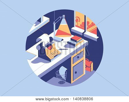 Writing space flat with vintage typewriter and office table. Vector illustration