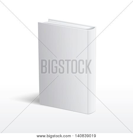 Blank vertical white book cover standing on table perspective view vector. Template of hardcover book