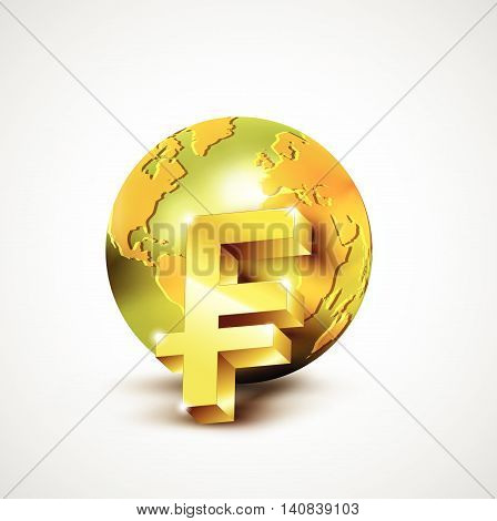 World Economic Concept With 3D Gold World And Franc Currency Isolated On White Background, Vector Il