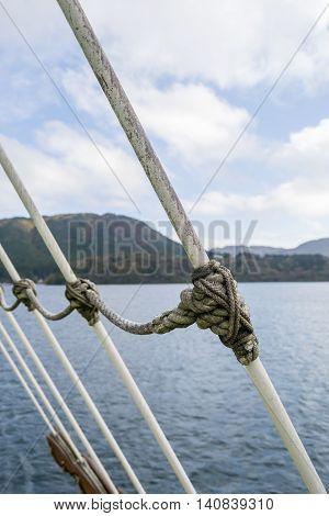 Marine rope ladder at pirate ship at Ashi Lake , Hakone in Japan