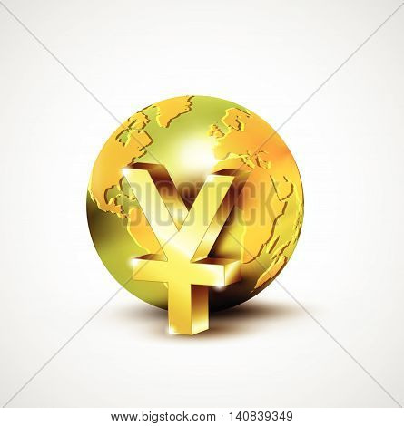 World Economic Concept With 3D Gold World And Yuan Currency Isolated On White Background, Vector Ill