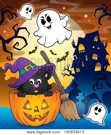 Halloween cat theme image 3 - eps10 vector illustration.