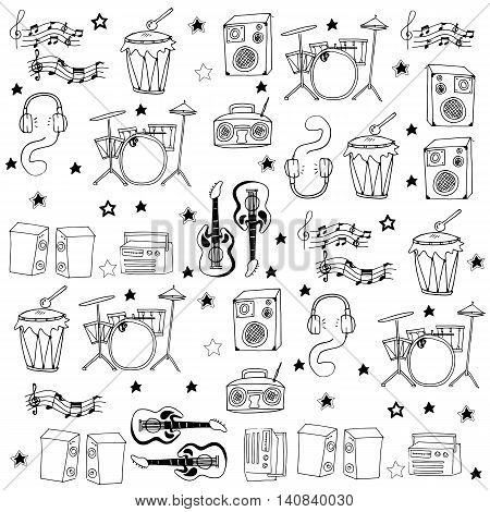 Doodle of many collection stock music vector art