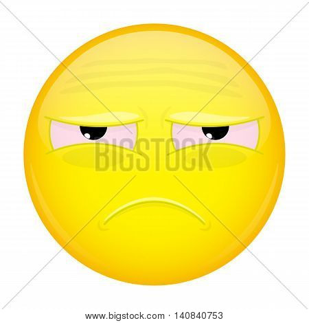 Tired emoji. Sad emotion. Unhappy emoticon. Vector illustration smile icon.