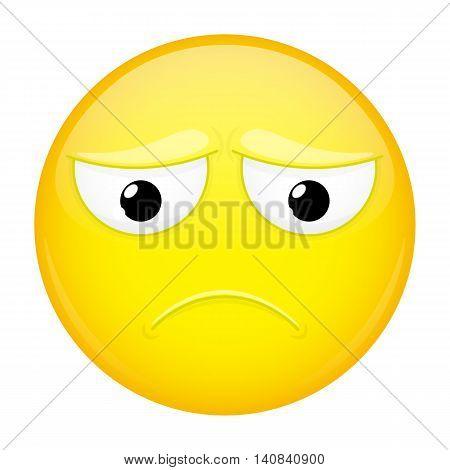 Sad emoji. Hurt emotion. Depression emoticon. Vector illustration smile icon.