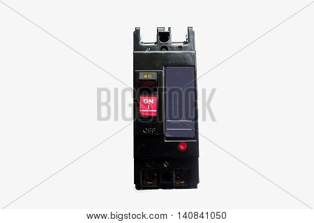 Circuit breaker 240v 40A isolated on white background.