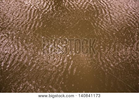 Pond of dirty water following a flood
