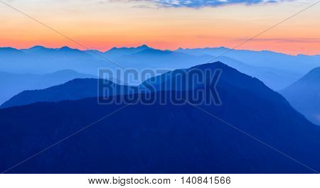 Sunset in the Mountains. Dinaric Alps, the Orjen and the Lovcen mountains, Montenegro