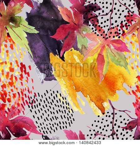 Autumn watercolor japanese maple leaf and doodle seamless pattern. Doodles and watercolour paper textures drawing. Abstract and natural background for fall design. Hand painted illustration on grey