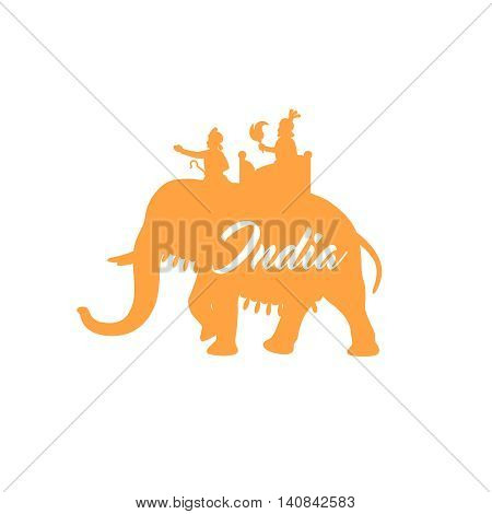 Indian maharaja sitting on elephant orange silhouette. Vector illustration
