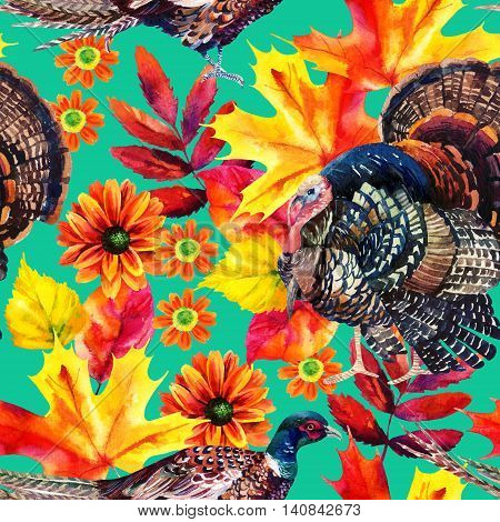 Autumn watercolor seamless pattern with turkey bird pheasant and autumn leaves and flowers on bright background. Hand painted fall illustration