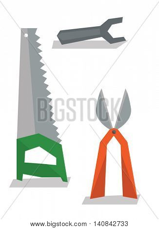 Saw, pruner and wrench vector flat design illustration isolated on white background.