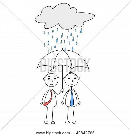 Cartoon man helping other with umbrella under rainy cloud
