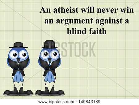 Atheism saying with bird atheist and vicar on graph paper background with copy space for own text