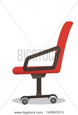 Red office chair vector flat design illustration isolated on white background.