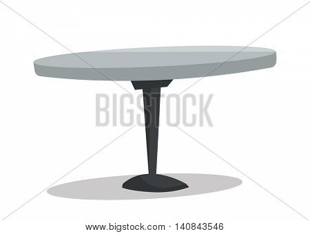 Round bar table vector flat design illustration isolated on white background.