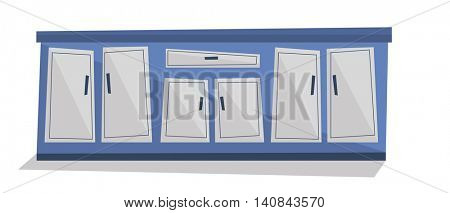 Kitchen cabinet with drawers vector flat design illustration isolated on white background.
