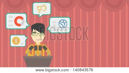 An asian speaker standing at podium with microphones at business conference. Speaker giving speech at podium and speech squares around him. Vector flat design illustration. Horizontal layout.