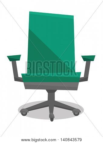 Green office chair vector flat design illustration isolated on white background.
