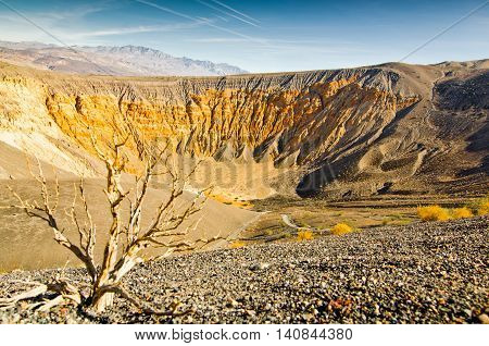 Ubehebe Crater is a large volcanic crater of the Ubehebe Craters volcanic field in the northern half of Death Valley in Death Valley National Park California USA.