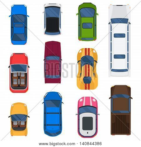 Top view different automobiles set isolated on white. Car top view taxi automobile vector racing transport. Wheel motor collection car top view transportation design traffic road van roof.