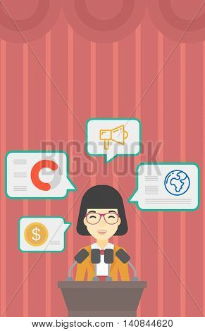 An asian speaker standing on a podium with microphones at business conference. Woman giving speech at podium and speech squares around her. Vector flat design illustration. Vertical layout.