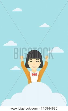 An asian happy woman with raised hands sitting on a cloud on the background of blue sky. Cloud computing concept. Vector flat design illustration. Vertical layout.
