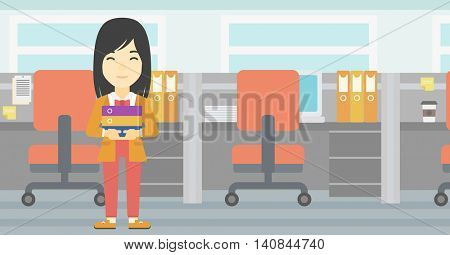 An asian business woman standing with pile of folders in the office. Business woman carrying stack of folders. Vector flat design illustration. Horizontal layout.