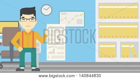 An asian man showing his business presentation with some text and charts. Man giving a business presentation in the office. Vector flat design illustration. Horizontal layout.