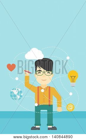 An asian man writing on a virtual screen. Businessman drawing a cloud computing diagram on a virtual screen. Cloud computing concept. Vector flat design illustration. Vertical layout.
