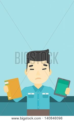 An asian man choosing between a tablet computer and a paper book. Man holding book in one hand and tablet computer in the other. Vector flat design illustration. Vertical layout.