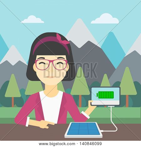 An asian woman charging tablet computer with solar panel on a background of mountains. Charging digital tablet from portable solar panel. Vector flat design illustration. Square layout.