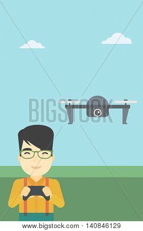 An asian man flying drone with remote control. Man operating a drone with remote control. Man controling a drone. Vector flat design illustration. Vertical layout.