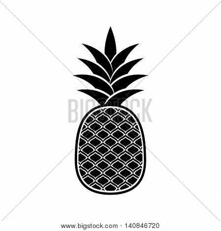 Black vector pineapple icon isolated on white background