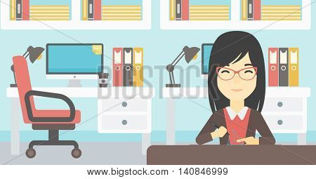 An asian young woman making a model with a 3D pen. Woman drawing geometric shape by 3d pen. Engineer working with a 3 dimensional pen. Vector flat design illustration. Horizontal layout.