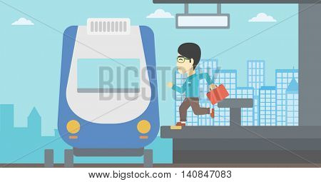 An asian latecomer man with briefcase running along the platform to reach the train. Young man came too late at train station. Vector flat design illustration. Horizontal layout.
