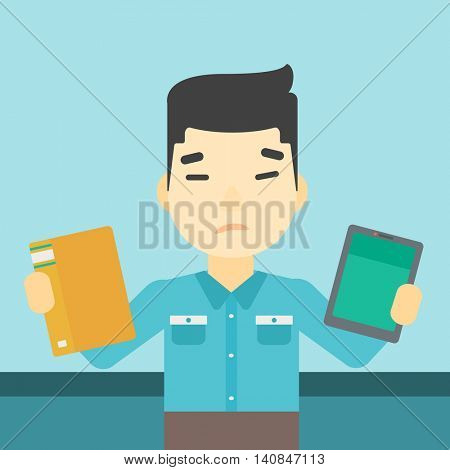 An asian man choosing between a tablet computer and a paper book. Man holding book in one hand and tablet computer in the other. Vector flat design illustration. Square layout.