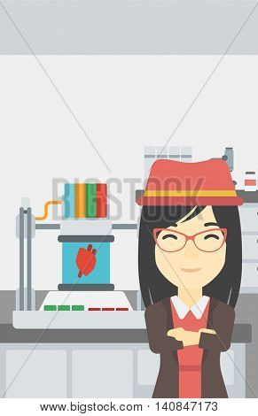 An asian young woman with 3D printer making a heart on the background of laboratory. Woman working with 3D printer. Vector flat design illustration. Vertical layout.