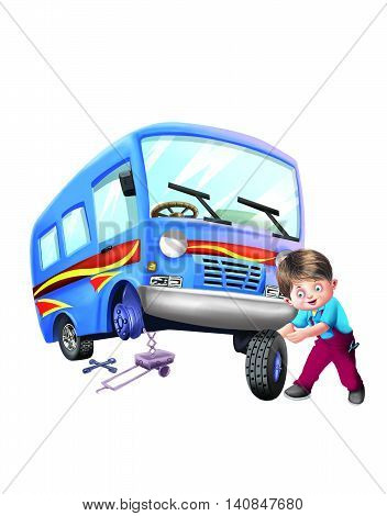 The mechanic change the tyre of his bus
