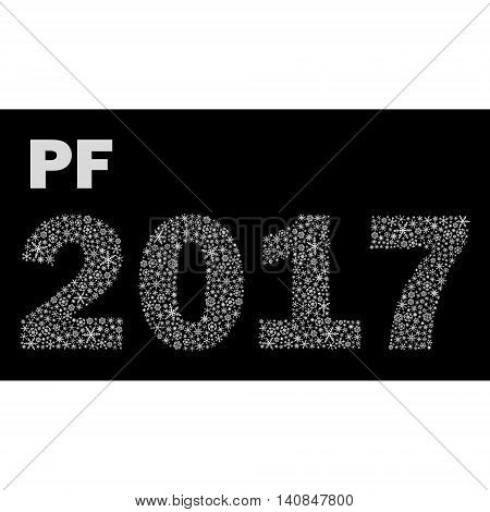 Black And White Happy New Year Pf 2017 From Little Snowflakes Eps10