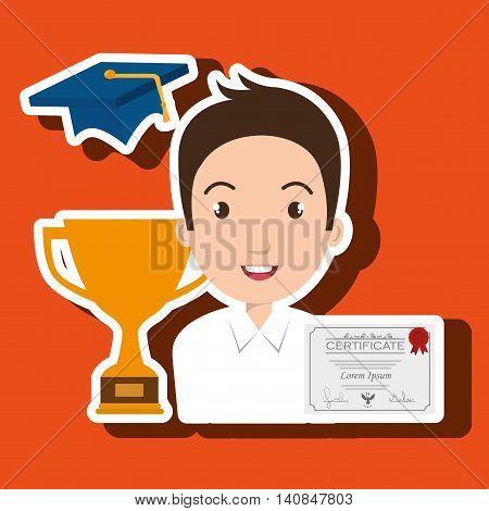 student graduation diploma trophy vector illustration eps 10