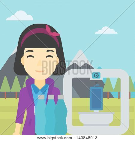 An asian young woman standing near three D printer on the background of mountains. 3D printer making a smartphone using recycled plastic bottles. Vector flat design illustration. Square layout.