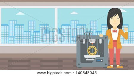 An asian young woman standing near tree D printer and pointing forefinger up. Engineer using 3D printer. Woman working with 3D printer. Vector flat design illustration. Horizontal layout.