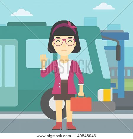 An asian young woman with suitcase standing at the entrance door of a bus on a city background. Young woman waving in front of a bus. Vector flat design illustration. Square layout.