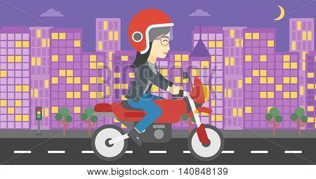 An asian young woman in helmet riding a motorcycle on the background of night city. Woman driving a motorbike on a city road. Vector flat design illustration. Horizontal  layout.